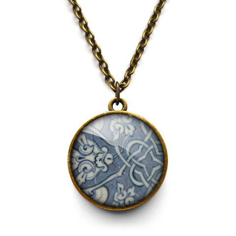 Heraldic,Necklace,(BP03),jewellery, jewelry, handmade, brass, necklace, vintage, glass, cabochon, broken pottery, heraldic, pattern
