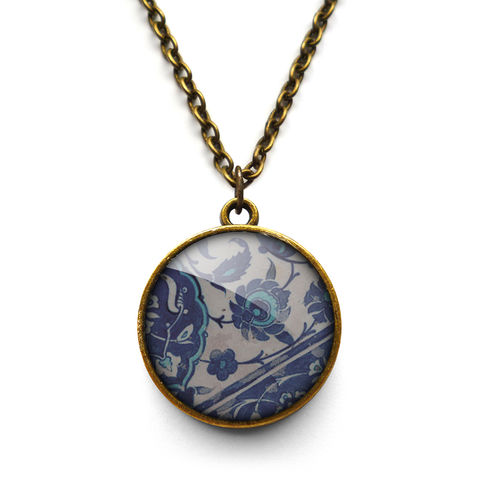 Floral,No.1,Necklace,(BP04),jewellery, jewelry, handmade, brass, necklace, vintage, glass, cabochon, broken pottery, floral, flower