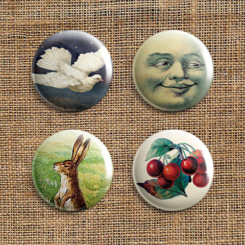 Set,Of,4,Eclectic,Range,Button,Badges,-,Pack,2,(ER2),jewellery, jewelry, badge, button, pin, steampunk, victorian, vintage, dove, moon, hare, cherries, stocking filler