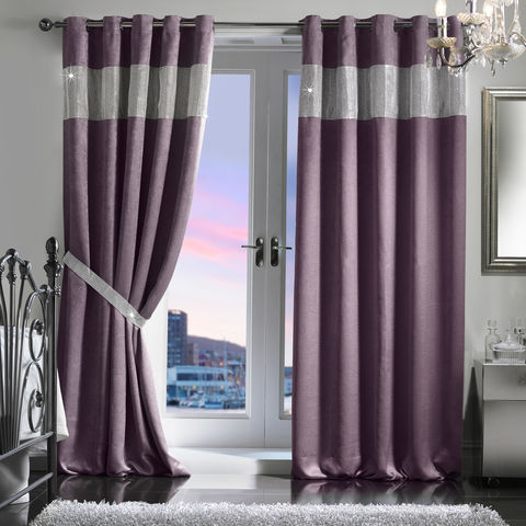 Diamante,Eyelet,Embossed,Blackout,Curtain,&,Holdback,Set,(165x137cm/65x54),Jasmine Waldorf Eyelet Blackout Curtain Diamante JW Latifs