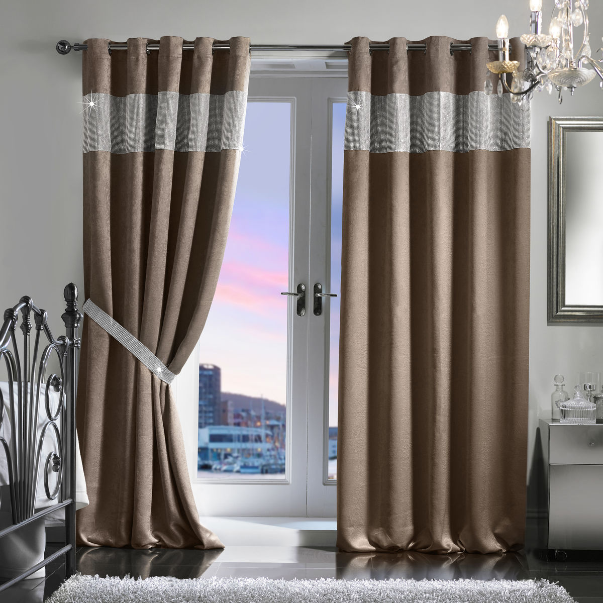 "Diamante Eyelet Embossed Blackout Curtain & Holdback Set (165x137cm/65""x54"") - product images  of"
