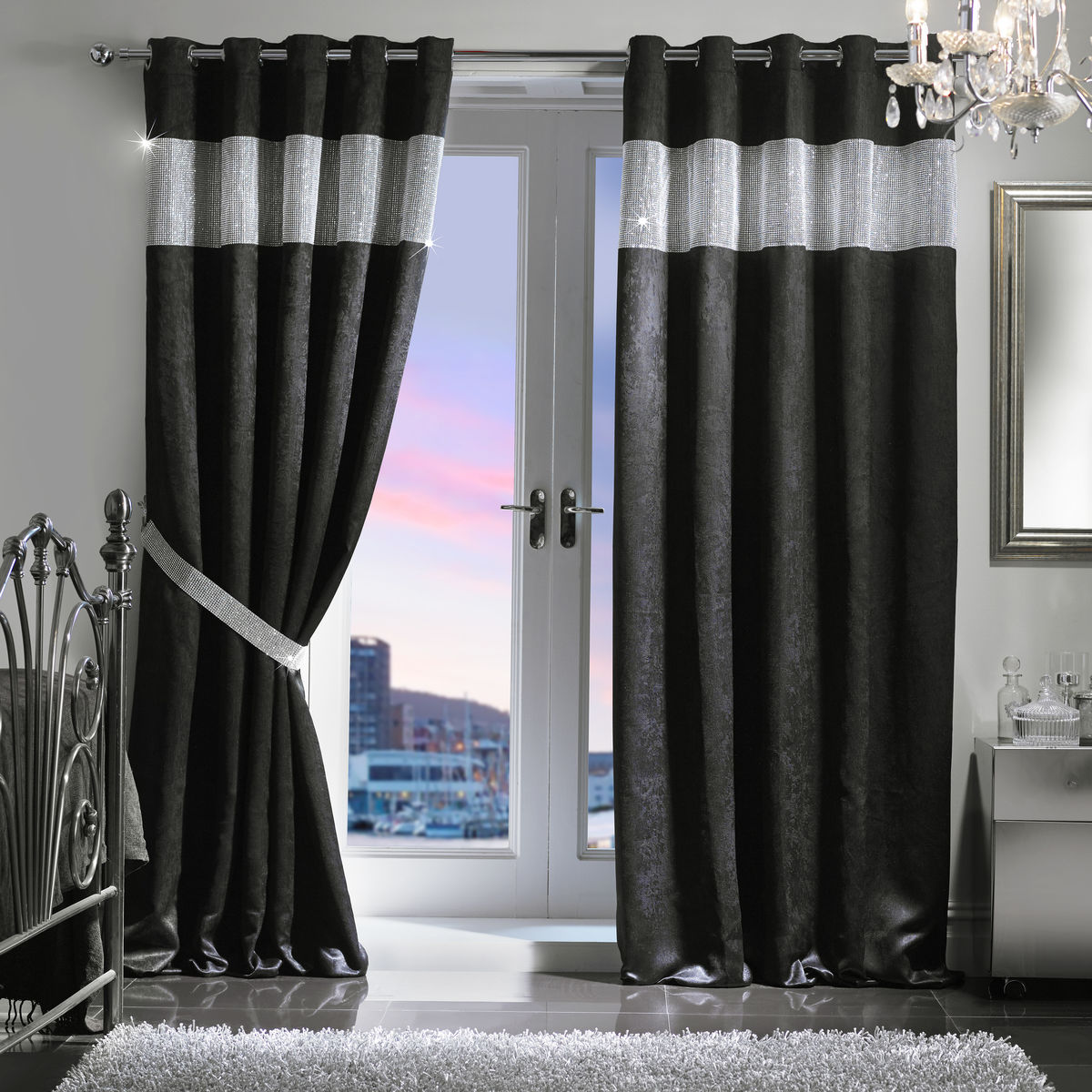 "Diamante Eyelet Embossed Blackout Curtain & Holdback Set (165x183cm/65""x72"") - product images  of"