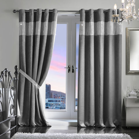Diamante,Eyelet,Embossed,Blackout,Curtain,&,Holdback,Set,(165x183cm/65x72),Jasmine Waldorf Eyelet Blackout Curtain Diamante JW Latifs