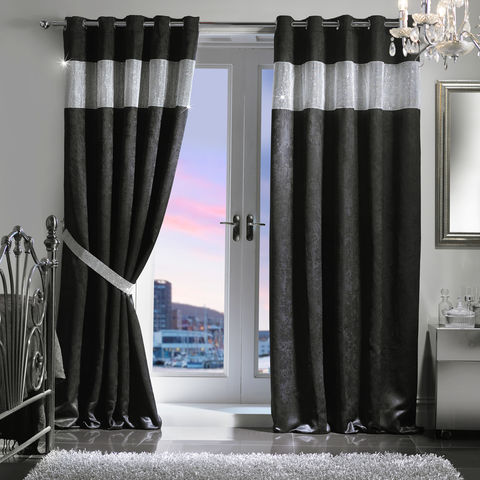 Diamante,Eyelet,Embossed,Blackout,Curtain,&,Holdback,Set,(229x183cm/90x72),Jasmine Waldorf Eyelet Blackout Curtain Diamante JW Latifs