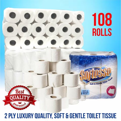 108,Softesse,Quilted,2,Ply,Toilet,Rolls,108 Softesse Quilted 2 Ply Toilet Rolls
