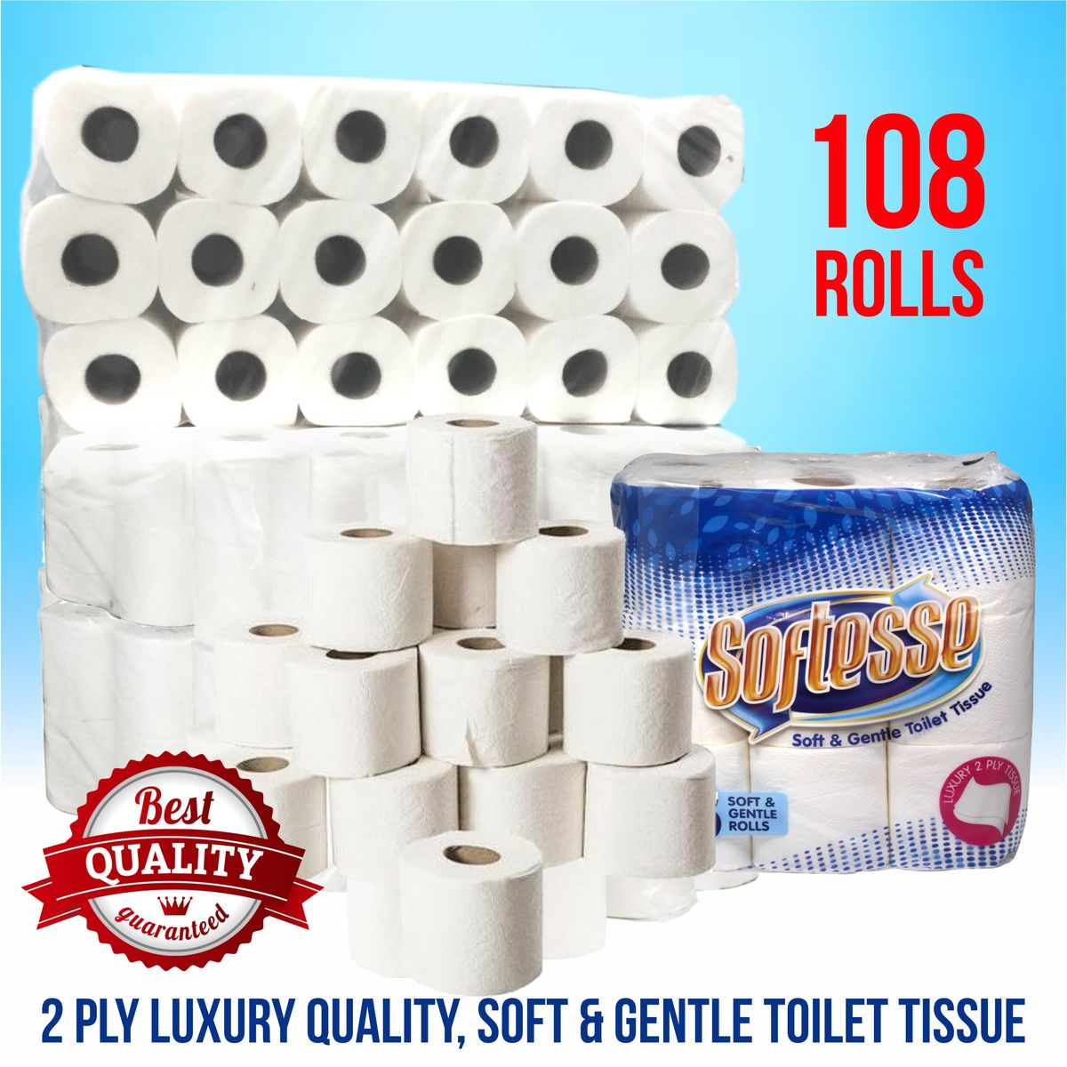 108 Softesse Quilted 2 Ply Toilet Rolls  - product image