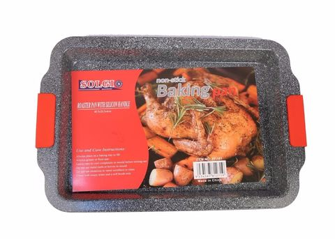 Nonstick,Baking,Roaster,Pan,With,Silicone,Handle,Nonstick Baking Roaster Pan With Silicone Handle