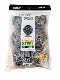 6,Large,Ball,Stainless,Steel,Cleaning,Scourer,6 Large Ball Stainless Steel Cleaning Scourer