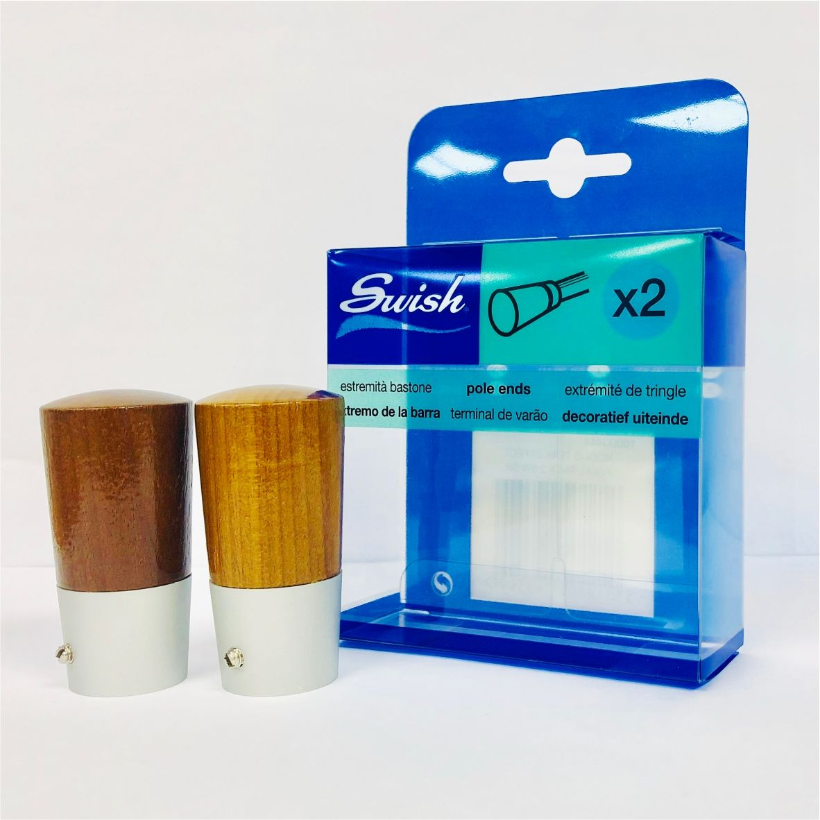 Swish Pole Ends Pack of Two Teak 19mm  - product image