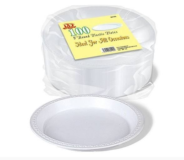 Pack of 100 Round Plastic Plates 9
