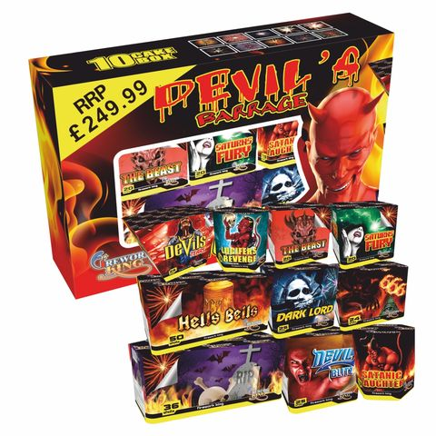 DEVIL'S,BARRAGE,10,CAKE,BOX,DEVIL'S BARRAGE 10 CAKE BOX