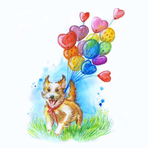 Balloon,Dog(marie2),I LOVE YOU THIS MUCH greetings cards