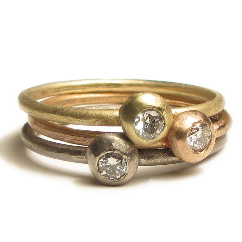 Set of three 18 Karat 18ct Gold stacking rings with diamonds - product images  of
