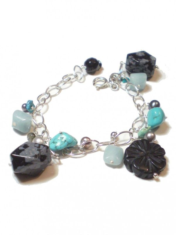 Milli Semiprecious Gemstones sterling silver Bracelet with turquoise and onyx - product images  of
