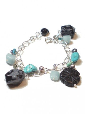 Milli,Semi-precious,Gemstones,sterling,silver,Bracelet,with,turquoise,and,onyx,bespoke precious Jewelry,silver chain Bracelet,Charm Bracelet,fun jewellery,carved black onyx,christas presents, flowers jewellery,blue,black,french designer,fashionista  women,sterling silver,natural gemstones,labradorite,black freshwater pearl