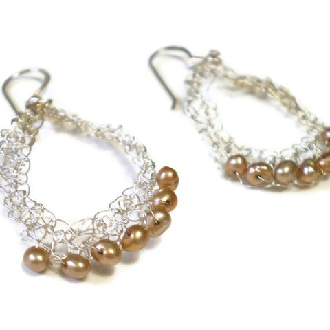 Bella,Sterling,silver,Golden,freshwater,Pearls,Earrings,Wedding jewellery, crocheted Jewelry,dainty Earrings,lace earrings,knitted silver,golden pearls,chandelier,dangle silver earrings,mesh jewelry,bridal jewelry,sterling silver designer jewellery, london jeweller, award winning jeweller, GIA professional