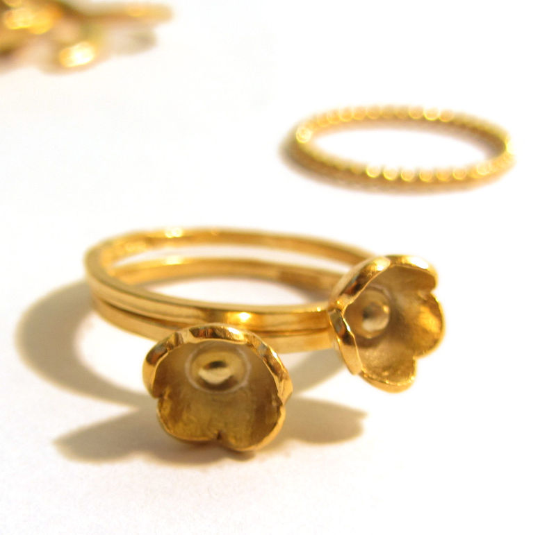 Gold Blum sterling silver flower stacking Ring - product images  of