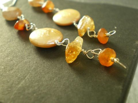 Autumn,Leaves,Sterling,Silver,earrings,ethical Jewelry,long Earrings,Beaded earrings,autumn leaves, fine jewellery,elegant,dainty,beaded earrings,yellow_orange,carnelian,made in the uk, golden pearls,citrine,sunstone,sterling silver
