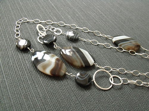 Black Botswana banded Agate long Sterling Silver Chain necklace - product images  of