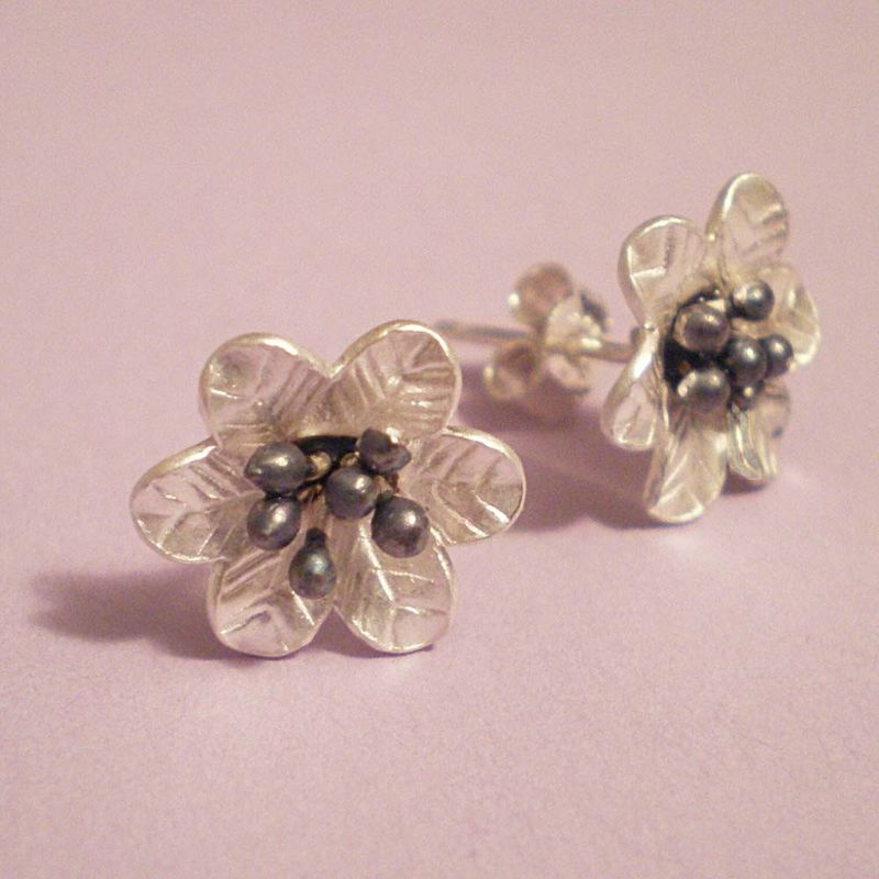 Nera Blums Sterling Silver flower Earrings - oxidized - product images  of