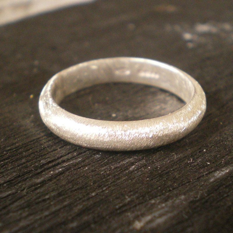 Brushed matte sterling silver wedding band - product images  of