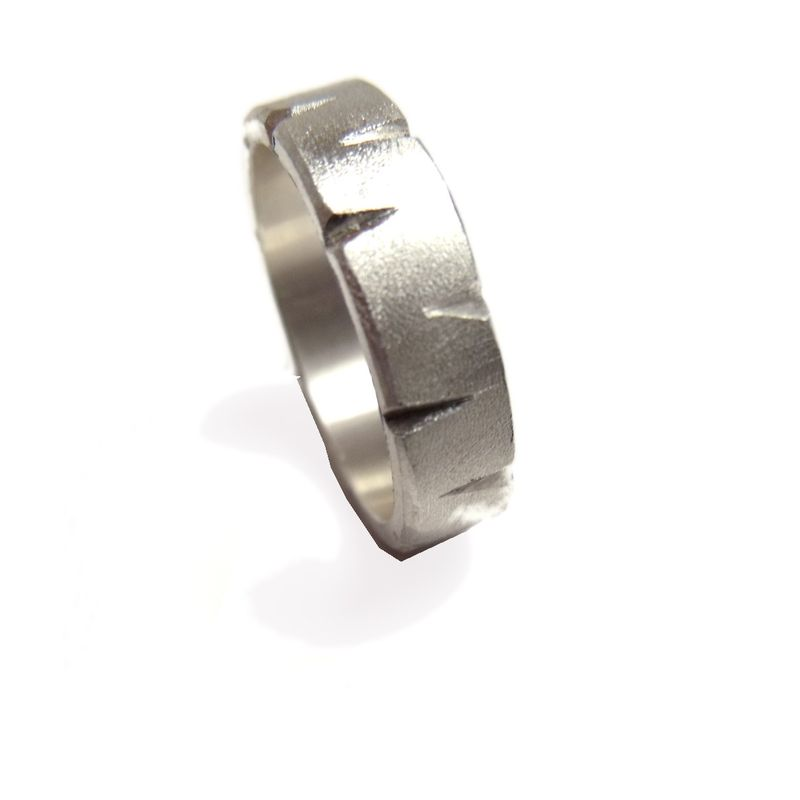 ARTEMIS  - 5 mm  satin sterling silver Ring handforged - product images  of