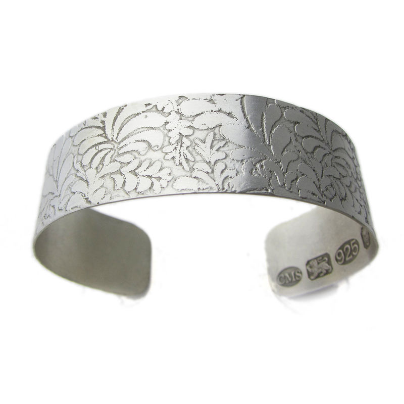 Volutes etched Silver Open Bangle - product images  of