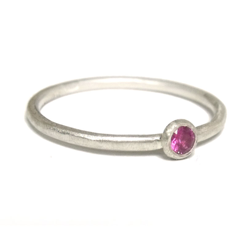 Pink Sapphire and Sterling Silver Ring - product images  of