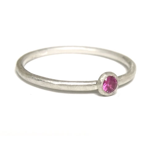 Pink,Sapphire,and,Sterling,Silver,Ring,brushed silver, hot pink sapphire, pink ruby, pink sapphire ring, catherine marche jewellery, jeweller in london