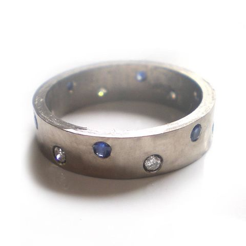 Night,and,Day,18K,white,gold,5,mm,band,diamonds,bespoke jewellery, bespoke weddings, 18ct white gold jewellery, wedding ring for him,luxury,18k,white gold,exclusive,couture,blue sapphire,uk,fine,gemstones,sapphire