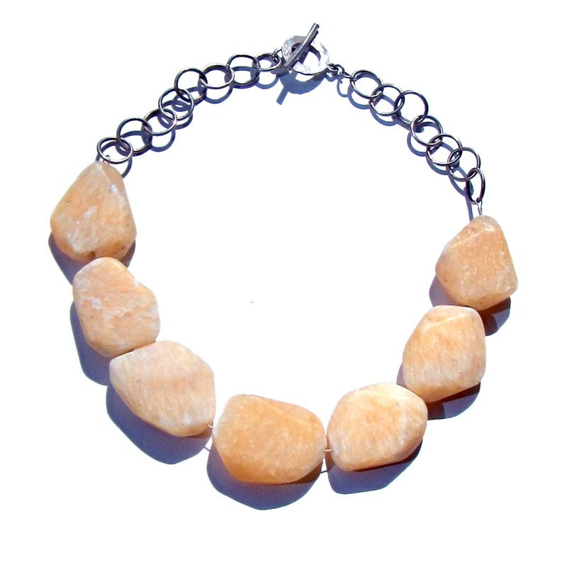 Sterling Silver Necklace with large yellow Calcite Nuggets - product images