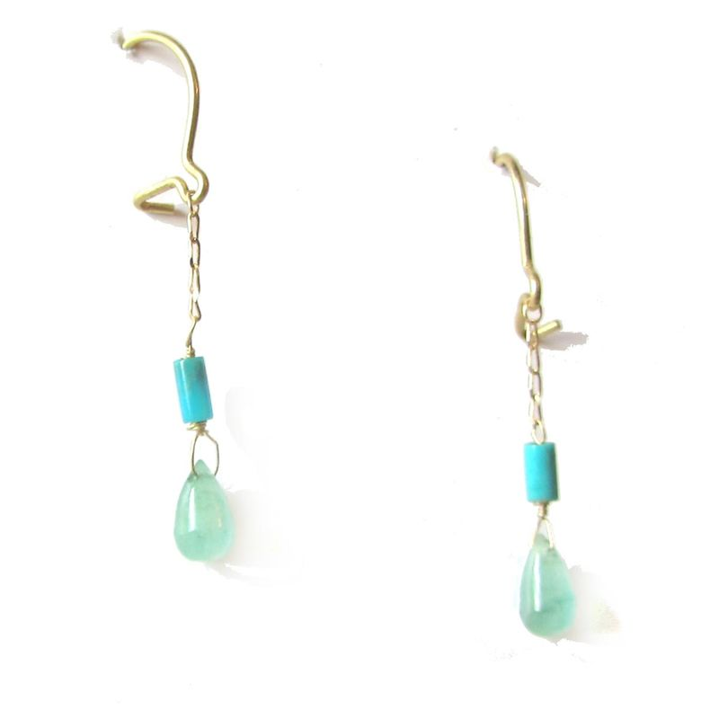 Emerald and Turquoise 18ct Gold Earrings - product images  of