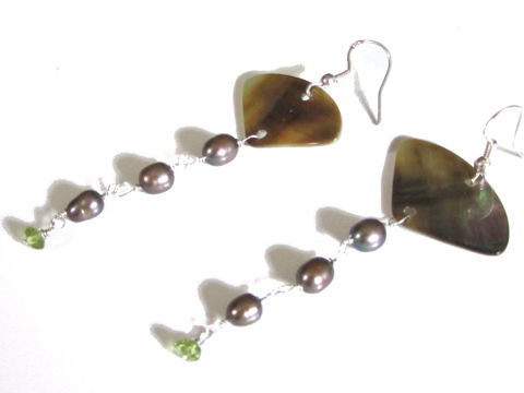 Fan,Earrings,with,peridot,and,mother,of,pearl,long drop earrings, beach jewellery, mother of pearl earrings, peridot earrings, grey pearls earrings