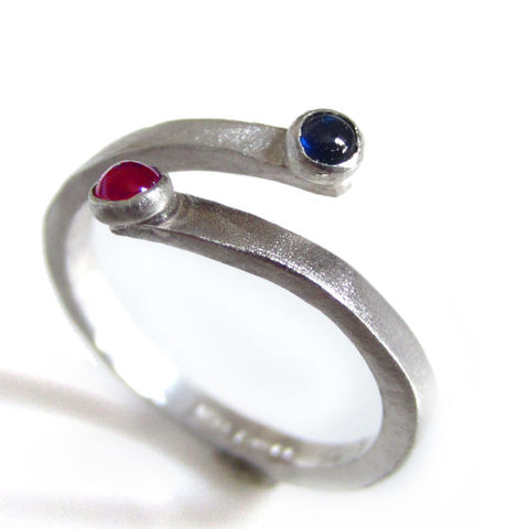 Sapphire,and,Ruby,You,Me,Crossover,Sterling,Silver,Ring,handmade Jewelry,sterling silver Ring,Adjustable ring,tiny gemstones,sterling silver,cabochons,you and me ring, catherine marche,london made,made in the UK