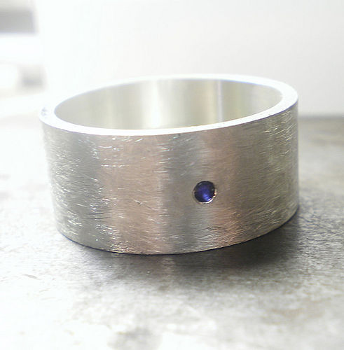 Large Sterling Silver Ring with Blue Sapphire - product images  of