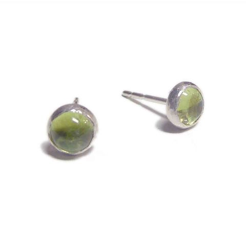 Apple,Green,Peridot,Stud,Earrings,in,sterling,silver,green gemstone, apple green gemstone, peridot stud earrings, peridot earrings, london jeweller, gift for her, catherine marche
