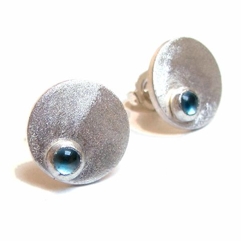 Blue,Topaz,cabochon,Dotty,Spot,Stud,Earrings,sterling,silver,ear studs,blue topaz, cabochon gemstone,stud earrings,bespoke Jewelry,silver Earrings,jewellery,disk,circle,london jeweller,french fashion,simple earrings,sterling silver,natural gemstones,catherine marche
