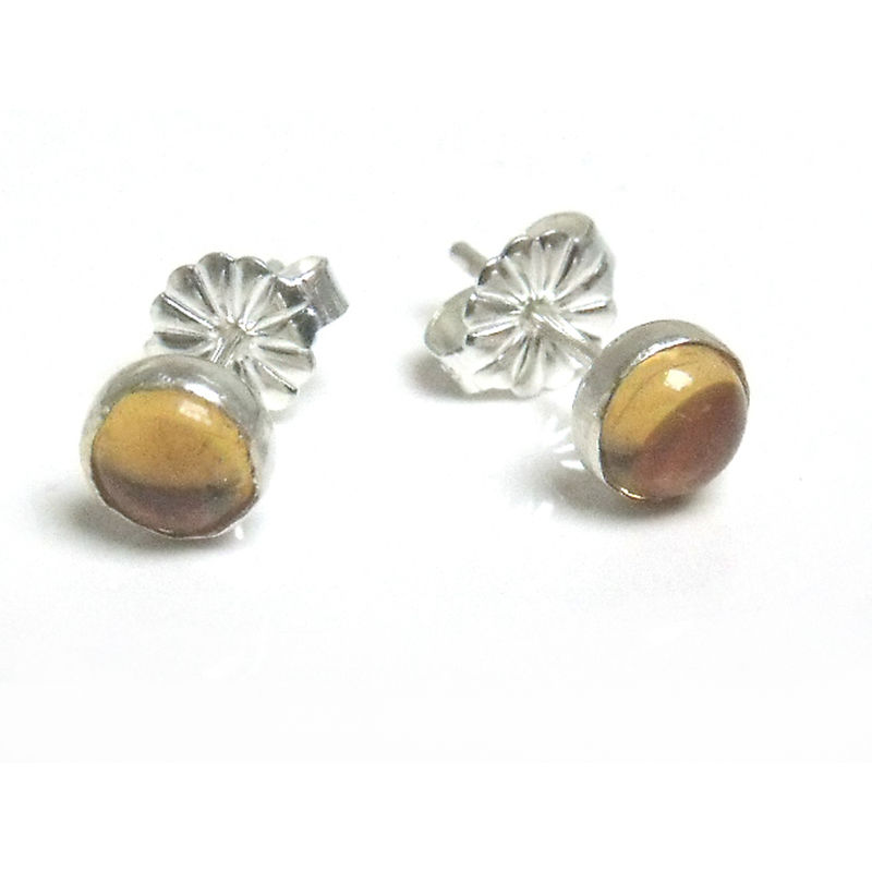 Round stud Earrings with yellow citrine cabochon set in sterling silver 925 - dotty collection - product images  of