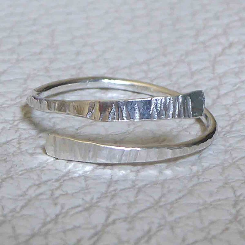 Textured Bark Open Adjustable Silver Ring - product images  of