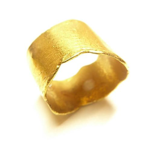 Gold,Vermeil,Parchemin,Band,wide organic ring, large wedding ring, wavy vermeil ring, catherine marche,