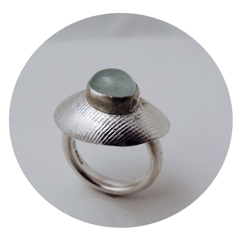 Aquamarine Cabochon Silver Ring - product images  of