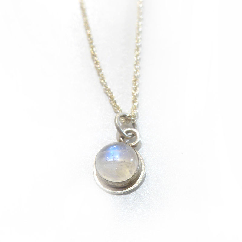 Round Moonstone sterling Silver Necklace  - product images  of
