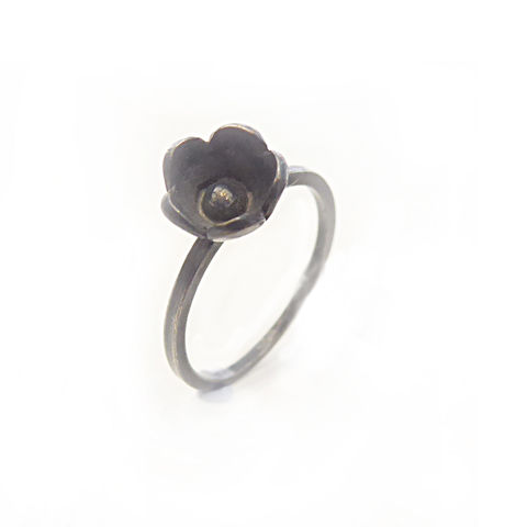 Black,Blum,Oxidised,silver,flower,stacking,Ring,bespoke Jewelry,minimalist Ring,oxidised Sterling silver,floral jewellery,black silver,flower rings,blooms,flowers,organic,uk,jewellery,stackable rings,925 silver