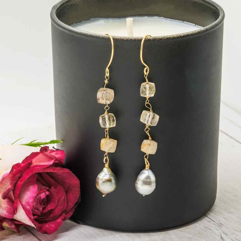 18ct Gold Earrings with Tahiti Pearls and Rutilated Quartz - product images  of