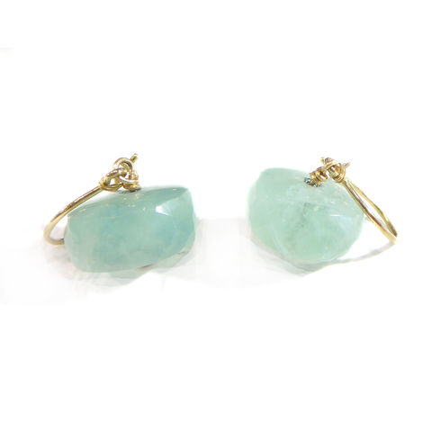 Aqua,Green,Fluorite,Earrings,in,18K,18ct,yellow,gold,gemstones drop earrings, big gems jewellery, 18ct gold and blue earrings, aqua blue fluorite earrings, catherine marche jewellery