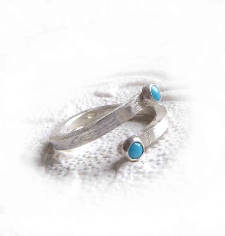 You,and,Me,-,Sterling,silver,ring,with,turquoise,cabochon,gemstones,handmade Jewelry,you and me ring, sterling silver Ring,Adjustable ring,tiny gemstones,sterling silver,turquoise cabochons, silver and turquoise jewelry,catherine marche jewellery,london made,made in the UK