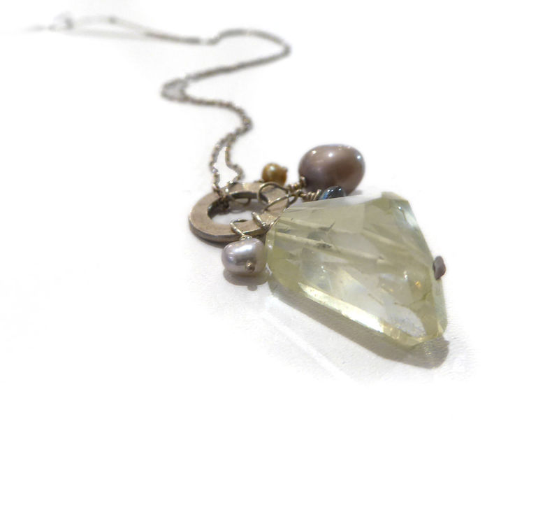 Lemon quartz cluster talisman necklace  - product images