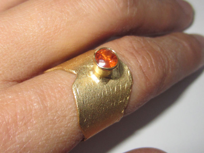 Sculptural Ring with mandarin garnet - product images  of