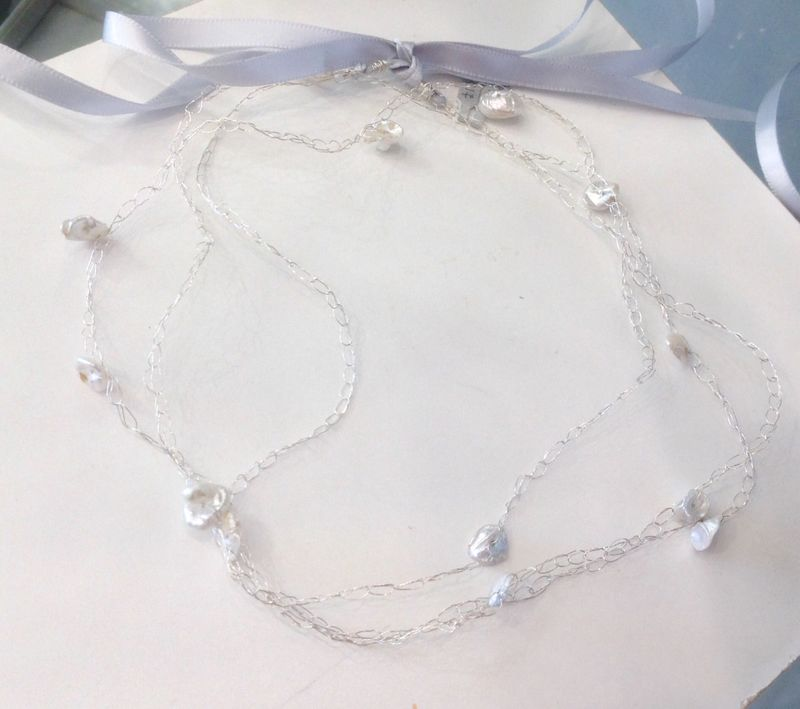 White Keshi Pearls Wrap around Sterling Silver Necklace - product images  of