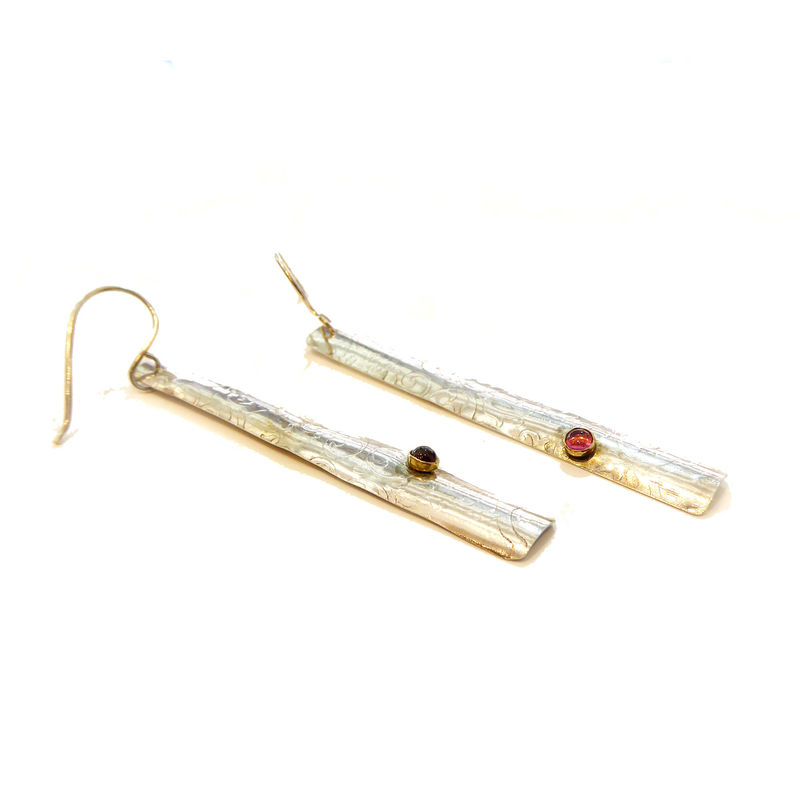 Long Earrings in patterned Sterling Silver and Tourmaline Cabochons set in 18K yellow gold - product images  of